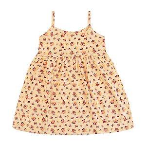 Vestido Florzinhas Amarelo Infantil Menina
