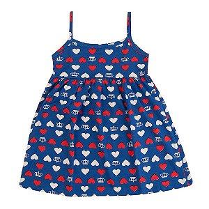 Vestido Coração e Coroas Infantil Menina