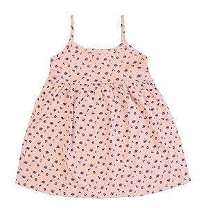 Vestido Rosa com Flores Infantil Menina