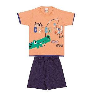 Conjunto Camiseta Crocodilo Infantil Menino Ambar
