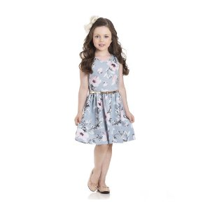 Vestido Floral Infantil Menina Azul