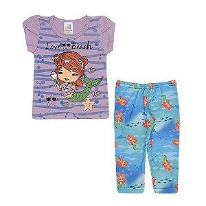 Conjunto Blusa e Legging Sereia Infantil Menina