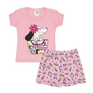 Conjunto Blusa Cachorrinho e Shortinho Princesa Infantil Menina