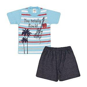 Conjunto Camiseta Rock And Roll e Bermuda Moletinho Infantil Menino