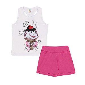 Conjunto Regata Sorvete e Short Cotton Infantil Menina