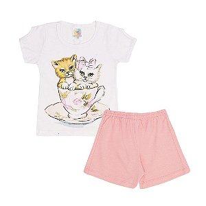 Conjunto Blusa Gatinhos e Short Cotton Infantil Menina
