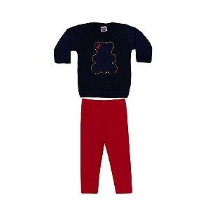Conjunto Blusa e Legging Infantil Urso Menina Marinho