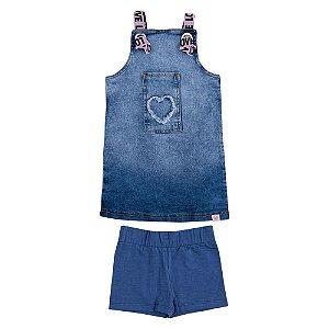 Salopete Jeans com Short Infantil Menina