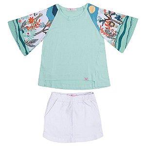 Conjunto Blusa, Short e Saia Verde Infantil Menina