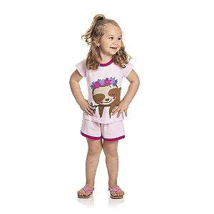 Pijama Preguiça Brilha no Escuro Infantil Menina