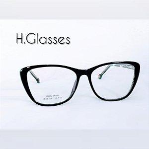 2ae21e60d Armação de Grau Feminina Gatinho Preto Metal e Acetato - H.Glasses