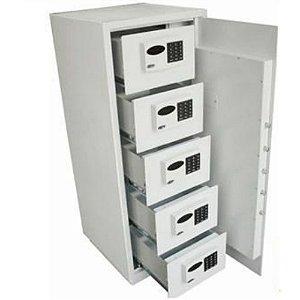 Cofre Eletrônico C/ 5 Compartimentos Internos Gavetas E Senhas Individuais - Fechadura Digital
