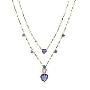 Colar  duplo 20-40 coração grande no ouro com zirconias coloridas