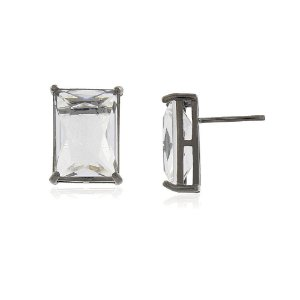 Brinco pedra retangular cristal HG no ródio negro