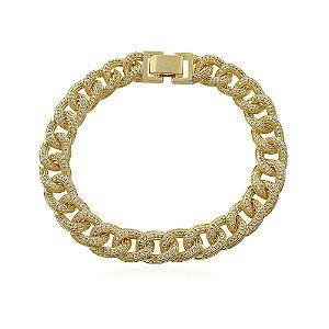 Pulseira grossa de elos toda cravejada com micro zircônias com extremo brilho folheada a ouro 18k