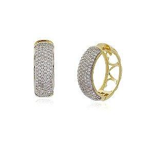Brinco argola cristal luxo no ouro 18k