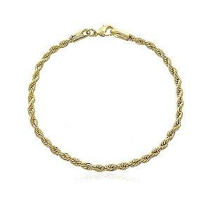 Pulseira cordão baiano 3mm de 18cm no ouro 18k