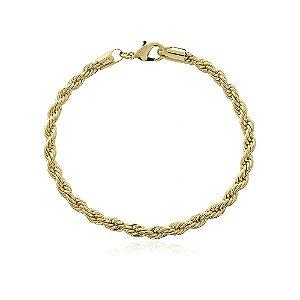 Pulseira cordão baiano 4mm com 18cm no ouro 18k