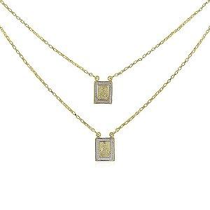 Colar escapulário jesus e maria senhor abençoe e te guarde no ouro 18k com Aplicação de Ródio em toda sua volta