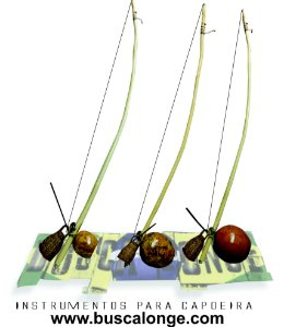 Trio de Berimbau completo VERNIZ NATURAL