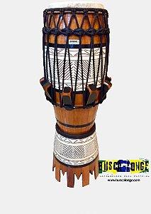 Atabaque Personalizado com entalhe em madeira (natural com corda preta)