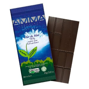 Chocolate Orgânico AMMA 75% Flor do Mar – 80grs.