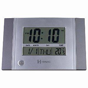 Relógio De Parede Digital Herweg 6472-071 Cinza Metálico