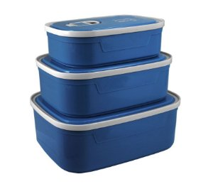 Conjunto de Potes para Alimentos com 3 Peças Concept Mais Azul Jacki Design - AWM21830