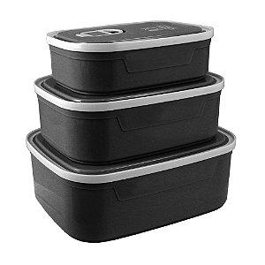 Conjunto de Potes para Alimentos com 3 Peças Concept Mais Preto Jacki Design - AWM21830