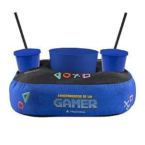 Almofada Porta Pipoca Playstation Pixel Balde + 2 Copos + Canudo