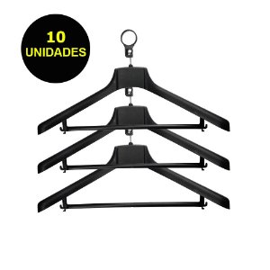 Cabide Plástico Antifurto Black Kit 10 Unidades