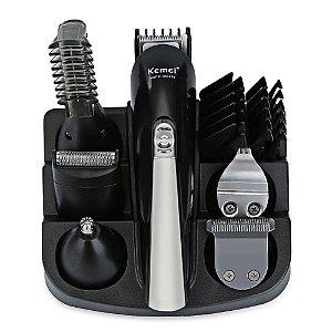 Kit Máquina de Cabelo Aparador de Pelos Kemei Professional Multifuncional 11 em 1