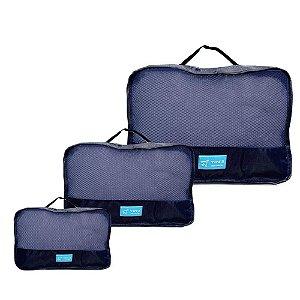 Kit Necessaire Organizador em Poliéster para Viagem 3 Peças YS27065 - Yin's Cor:Azul