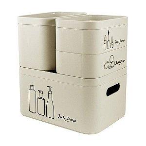 Kit Organizador Beauty de 4 Peças (Cozy) Jacki Design - AGN19795 Cor:Bege