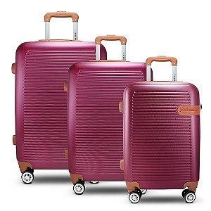 Conjunto de Malas de Viagem 3 Peças Vinho (Premium) Jacki Design - AMF19798