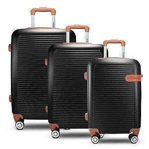 Conjunto de Malas de Viagem 3 Peças Preto (Premium) Jacki Design - AMF19797