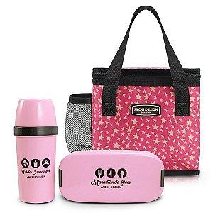 Kit 3 Peças de Marmita, Garrafa e Bolsa Térmica Jacki Design - AHX19763 Cor:Pink Estrela