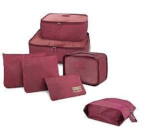Kit Viagem Miami 7 Pçs Organizador de malas + Porta sapato Jacki Design Cor:Vinho
