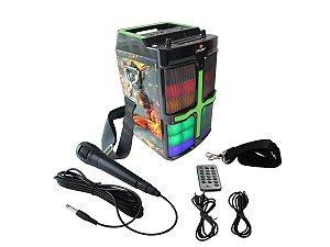 Caixa de Som 20W Portátil Bluetooth Grasep D-D01 Estampa Motoqueiro Fantasma