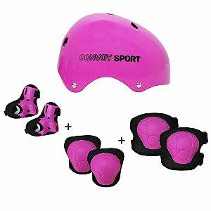 Kit Proteção Completo para Skate Patins M YS38034 Cor:Rosa
