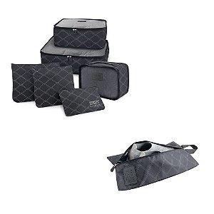 Kit Viagem Paris 7 Pçs Organizador de malas + Porta sapato Jacki Design