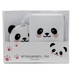 Kit Viagem Tag e Passaporte Panda - Zona Criativa