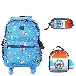 Kit Mochila Infantil Escolar com Lancheira e Estojo CLIO Urso Astronauta Cor:Azul Claro c/ Azul Marinho