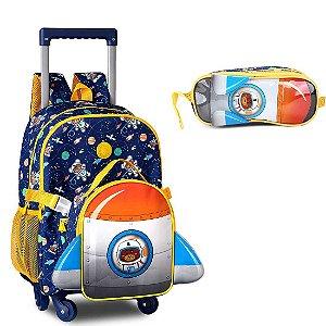 Kit Mochila Infantil Escolar com Lancheira e Estojo CLIO Urso Astronauta Cor:Azul Marinho c/ Amarelo