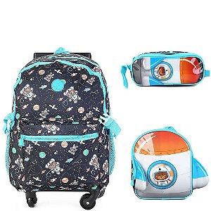 Kit Mochila Infantil Escolar com Lancheira e Estojo CLIO Urso Astronauta Cor:Preto c/ Azul Celeste