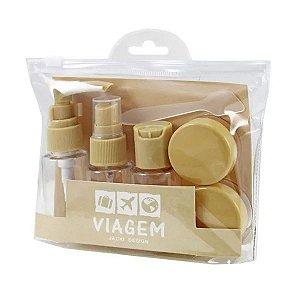 Kit de Frascos para Viagem 7 peças Jacki Design AKM19762 Cor:Bege