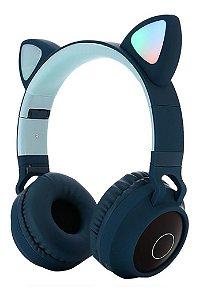Fone Ouvido Headphone Orelha Gato Gatinho Bluetooth BT028C Cor: Azul