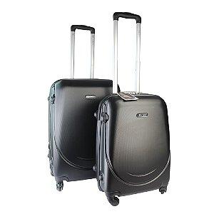 Conjunto de Malas de Viagem 2 Peças ABS c/ Expansor e Roda 360 Preto Yin's - YS01080P