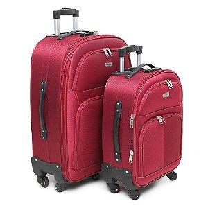 Conjunto Malas de Viagem 2 Peças em Poliéster com Roda 360 Vermelho Yin's - YS22009V