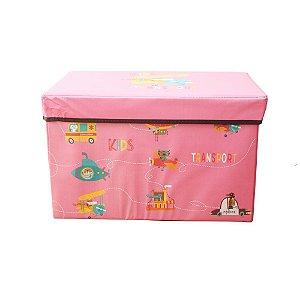 Caixa Puff Organizadora Infantil Dobrável 48x31x31CM Transporte Animais Casita - CA20004